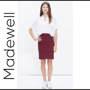 Madewell Striped Stretch Downtown Skirt NWT